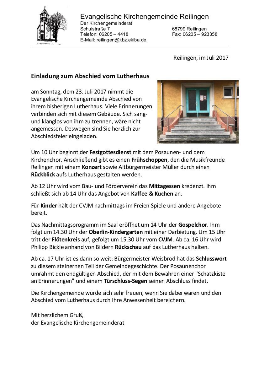 herzliche einladung zum abschied vom lutherhaus » evangelische, Einladung
