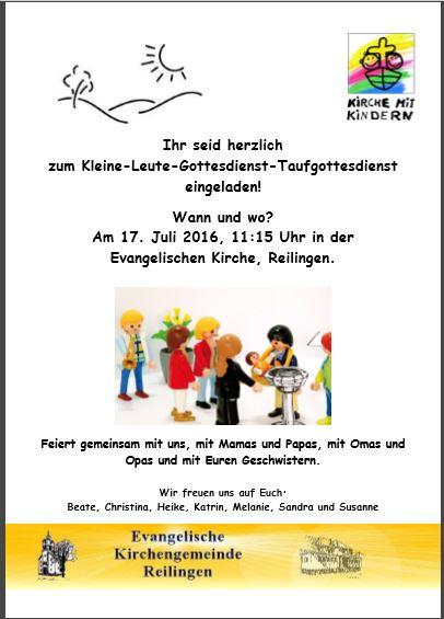 Plakat Kleine-Leute-Gottesdienst 17.07.2016